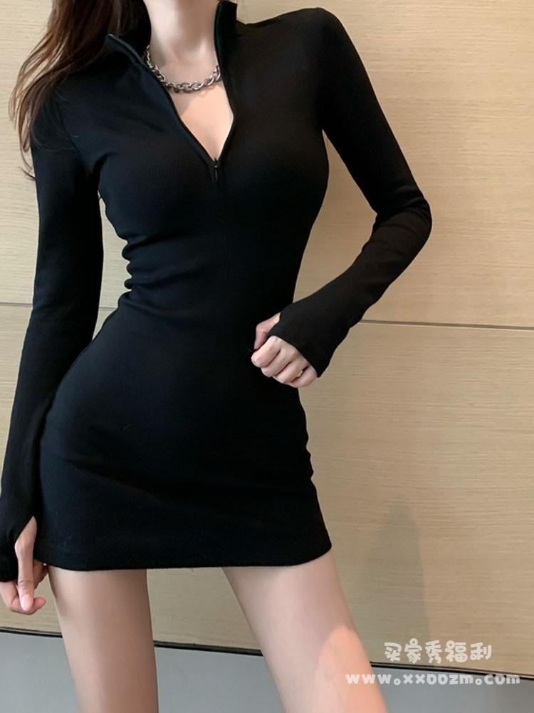 气质长袖显瘦连衣裙法式小众复古包臀赫本裙子